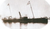 Steamship Hrvat (Croat), with Croatian flag, 1870s, Senj