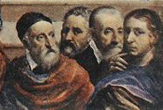 Tizian, Michelangelo, Julije Klovic, and Rafael; portrait by El Greco (detail) (The Minneapolis Institute of Arts)