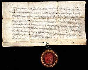 Glagolitic document with hanging seal, (Acta Croatica), Brinje, 1495.