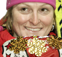 Janica Kostelic, Queen of the World Alpine Ski Chapionships, with 3 gold medals, Italy, 2005