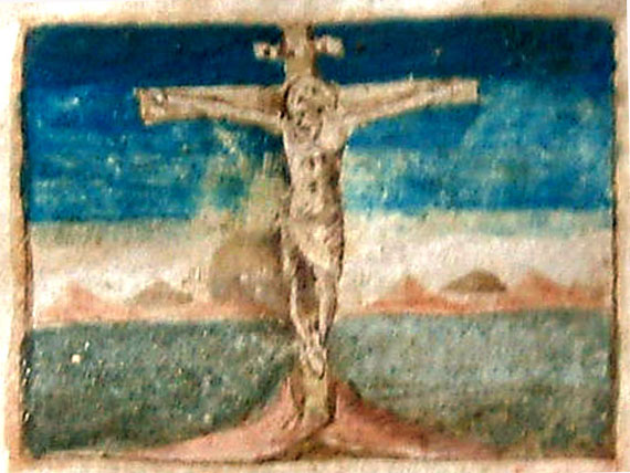 Crucifixion, from Croatian Glagolitic Missal, 15th century