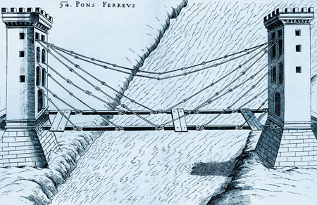 Suspension bridge by Faust Vrancic, 1595
