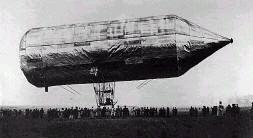 The first steerable metal airship by David Schwarz, 1897