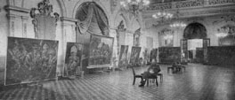 Kristian Krekovic in the City Hall of Lima, 1954, with his works